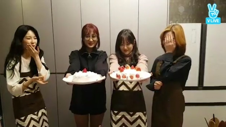 [9MUSES] 김나뮤언니가 오다 주운 케이크🎂  (9MUSES making cakes)