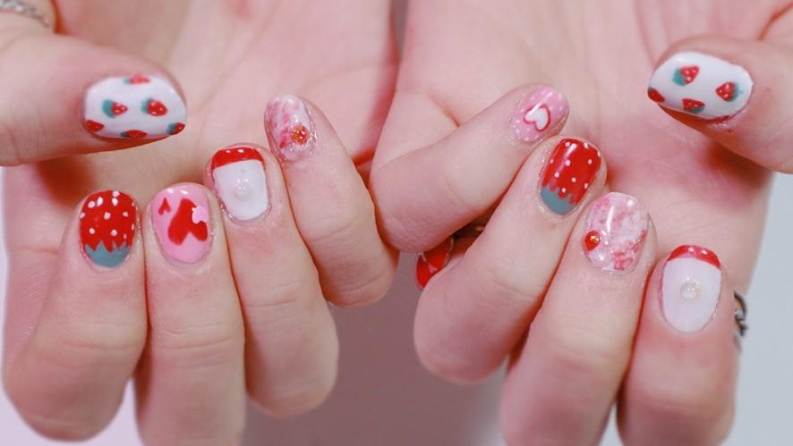 Cute Strawberry Nail Art 귀여운 딸기 네일아트