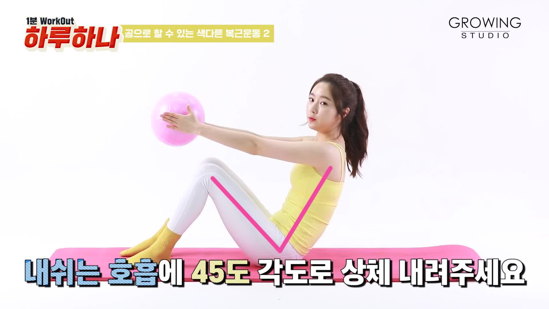 [1분팁] 공가져와! 뱃살빼러간닷! 공을 이용하여 자극 팍팍! 옆구리 복부 운동 - 하루하나