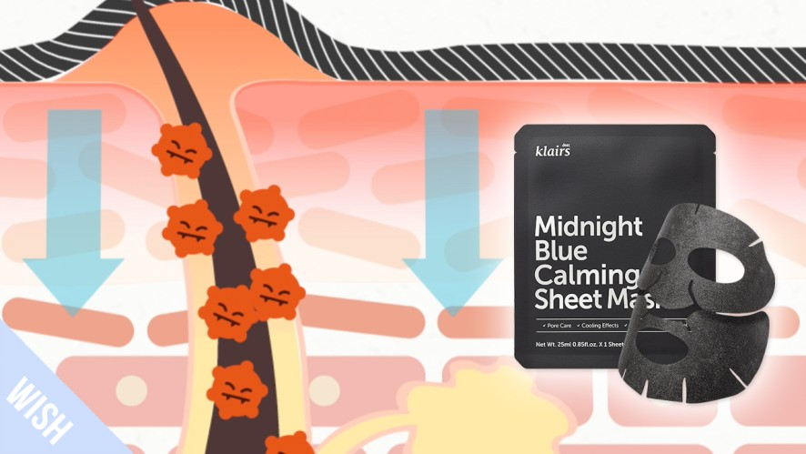 How does the KLAIRS Midnight Blue Calming Sheet Mask soothe skin?