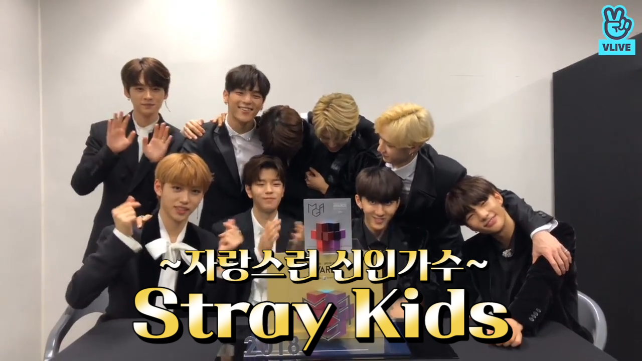 [Stray Kids] 우리 슼둥이들 신인상 축하해👏🎉🖤 (Stray Kids getting Rookie of the Year award)