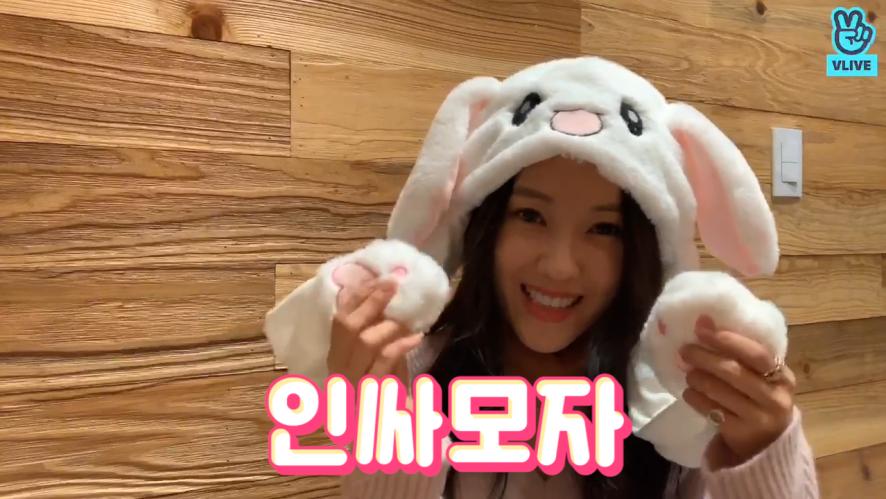 [HYOMIN] 인싸가 되고싶은 효밍🐰 (HYOMIN playing with rabbit hat)