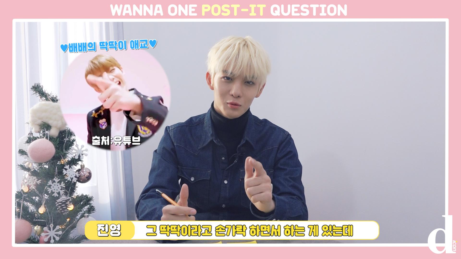 "[D아이콘] ""애교천재 배배"" 포스트잇 Q&A (배진영: 워너원)"