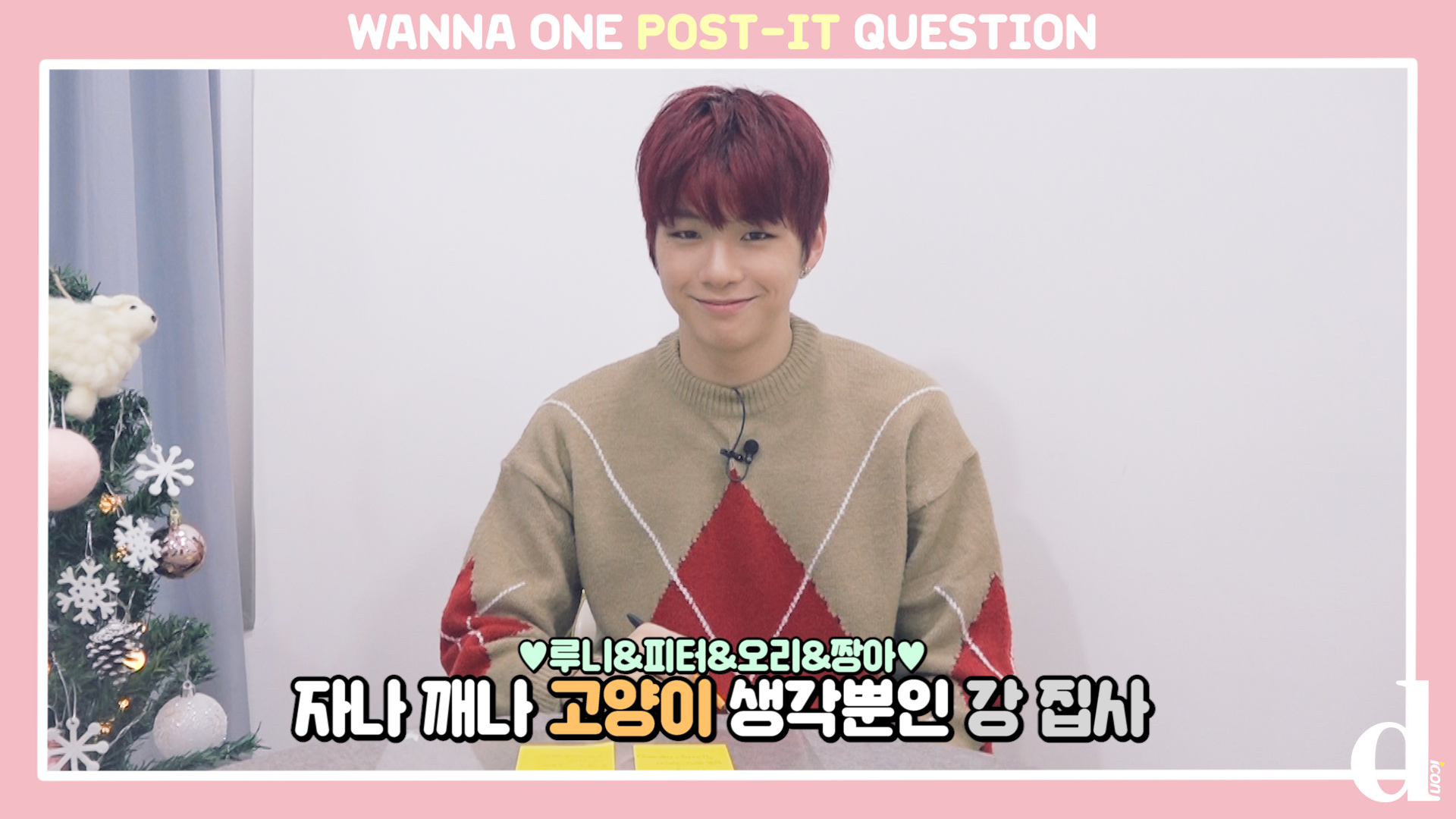 """[D아이콘] """"본격 고양이 자랑(ft.루니뱃살)"""" 포스트잇 Q&A (강다니엘:워너원)"""