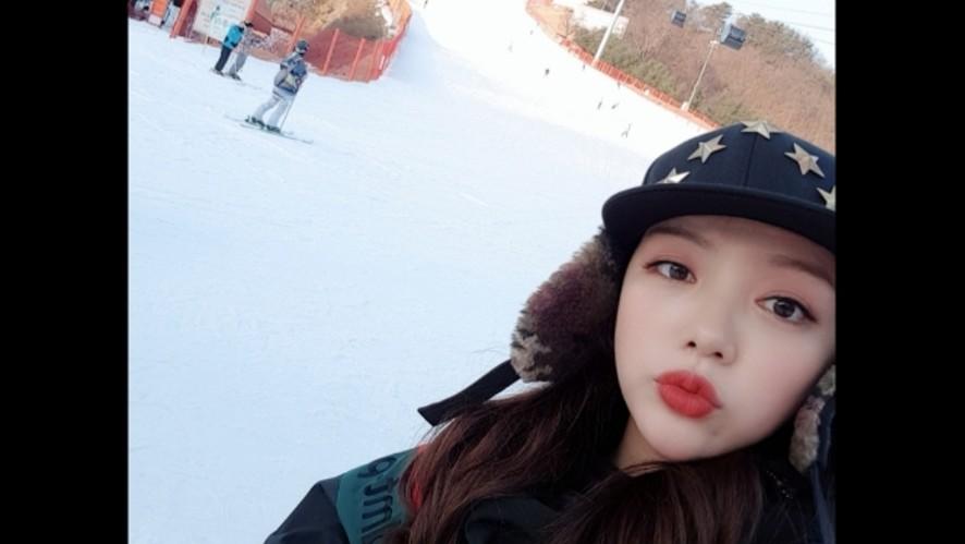 스키장 왔어요💜 in Ski resort