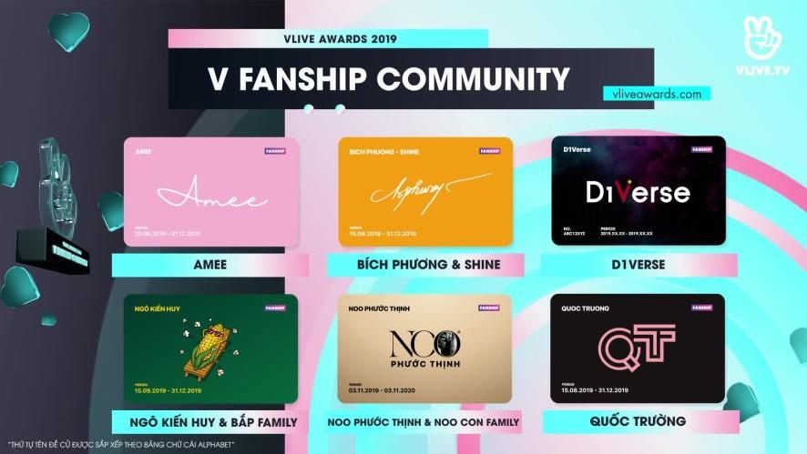 VLIVE AWARDS - Bảng đề cử hạng mục V FANSHIP COMMUNITY