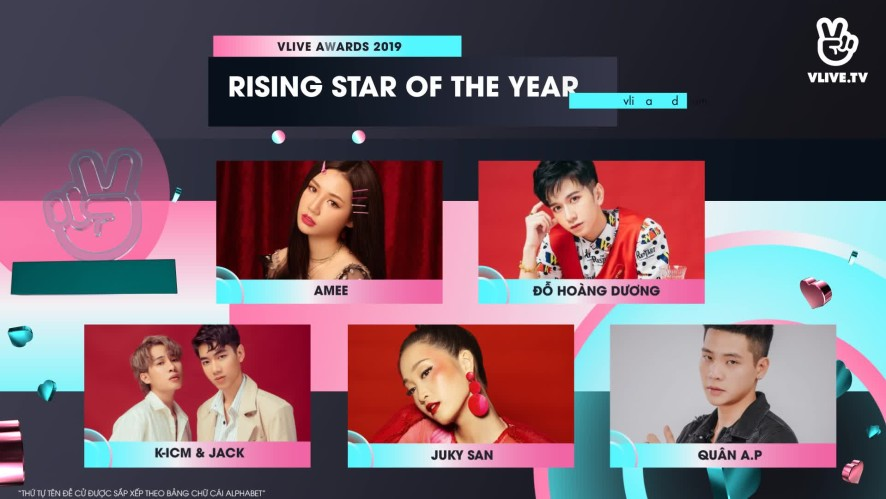 VLIVE AWARDS - Bảng đề cử hạng mục FAVOURITE RISING STAR OF THE YEAR