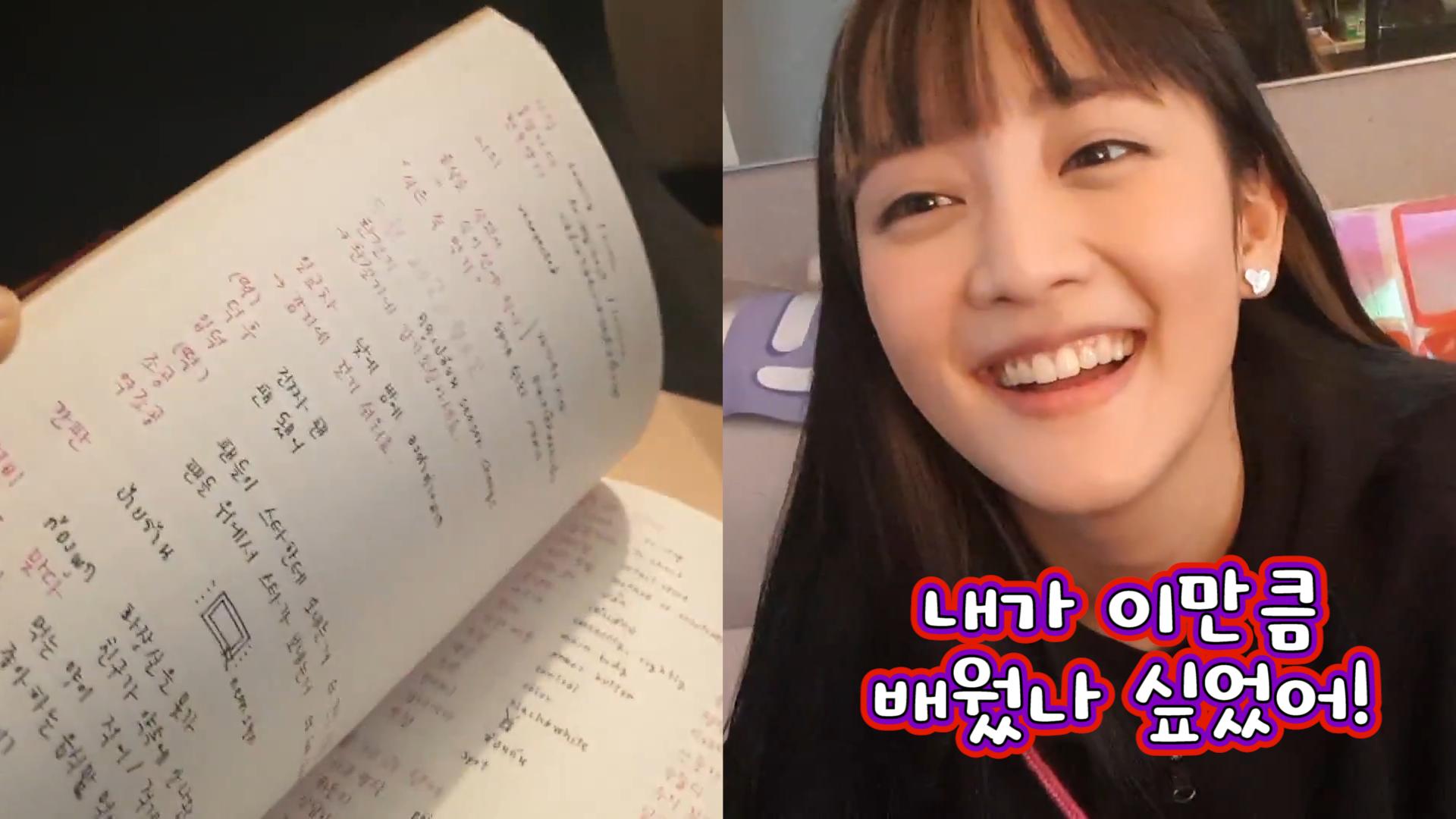 [(G)I-DLE] 공부는 김민니처럼.. 그럼 야 너두 언어천재 될 수 있어👍 (MINNIE showing her Korean study notes)
