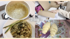 [J-log] EP. 8 🍳COOKING VLOG🍝 집에서 간단하게 해먹는 음식들!! (마늘밥,명란알리오올리오,크로플)