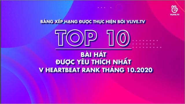 Top 10 V HEARTBEAT Rank Tháng 10
