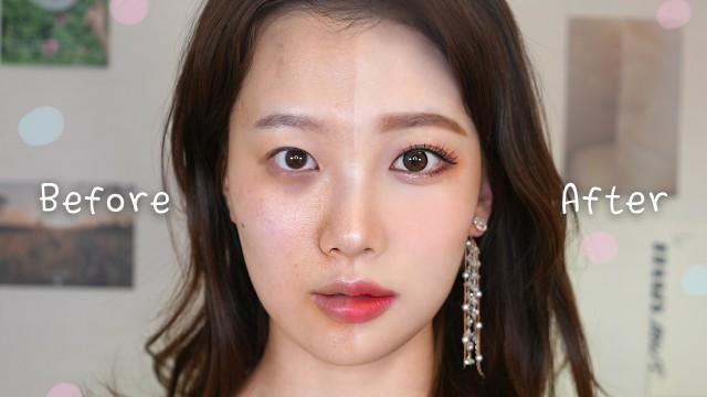 얼굴작아지고, 눈 2배 커지는 코랄 성형 메이크업 | 사각턱, 다크서클, 쌍꺼풀 (블랙헤드, 여드름 없애는 완벽 커버)