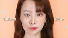 얼굴작아지고, 눈 커지는 오렌지 웜톤 성형 메이크업 (사각턱, 쌍꺼풀 만드는법)